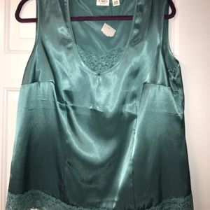 NWT Cato silk tank with lace bottom color is jade